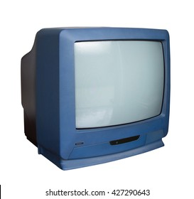 Old TV with clipping path on white background