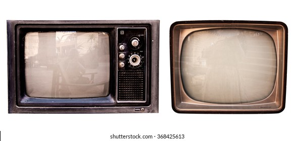 The old TV collection on the isolated white background,  retro vintage television set photo