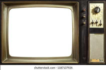 Old tv cut out screen with clipping path, vintage television technology style, close up