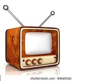 old TV image on a white background