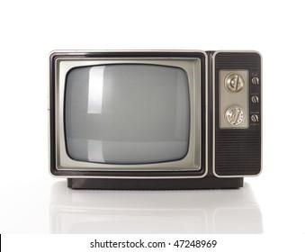 Alter TV einzeln auf Weiß