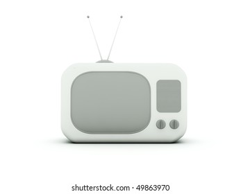 Old TV isolated on white. Blue and grey series