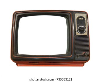 Old TV isolated on white background. This has clipping path.