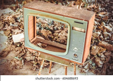 Old TV in Middle School No. 3 in Pripyat ghost town, Chernobyl Nuclear Power Plant Zone of Alienation, Ukraine