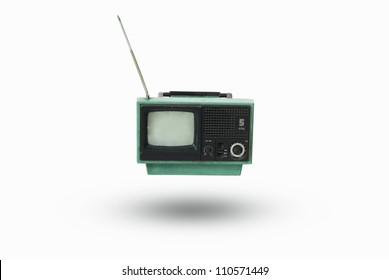 The old TV on the isolated white background