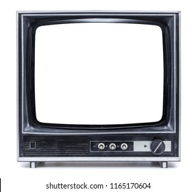 old tv on isolated white background