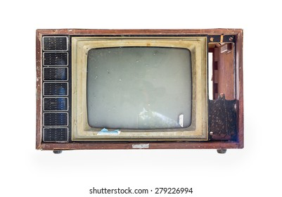 Old TV on the isolated white background.