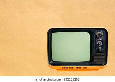 old tv on paper background