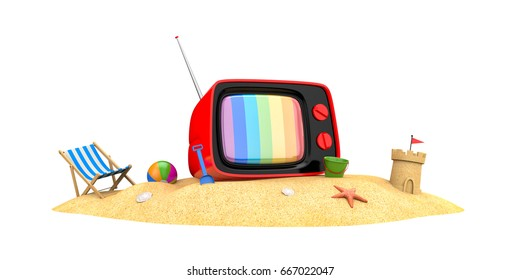Old TV on a sandy beach. 3d illustration