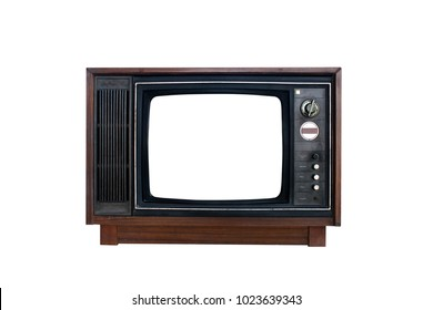 Old TV on white background with clipping path.