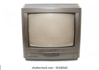 Old TV on white background