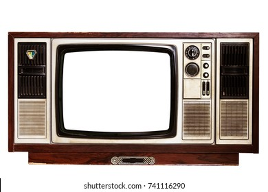 Old TV on  white background with clipping path