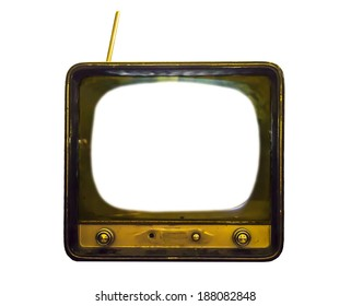 old TV with pure white screen isolated on white background
