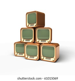 old TV pyramid icon on white background