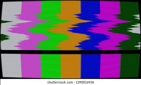 Old TV test pattern colorful stripes damaged by glitches, banding and noise