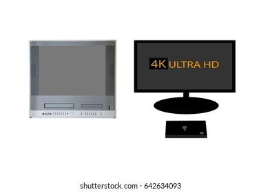 The old TV with VCR and DVD combo and external hard drive wifi and TV on White Background