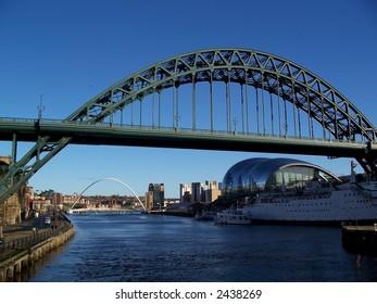 Old Tyne bridge, modern Sage music center and Millennium bridge --Quayside of Newcastle England