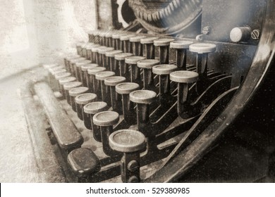 Old typewriter in antique photography vintage simulated