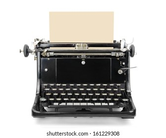 Old typewriter with blank sheet isolated on white