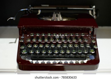 an old typewriter front view