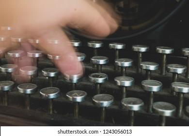 Old typewriter , handwriting.