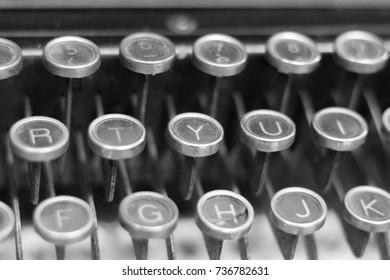 Old typewriter keyboard, close up