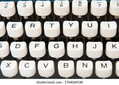 Old typewriter keyboard,  letters and numbers.