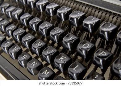 Old typewriter keyboard, shoot in the studio.