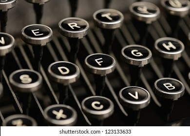 Old typewriter keys. Close-Up of keys on an antique typewriter. Shallow DOF.