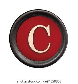 Old typewriter letter C