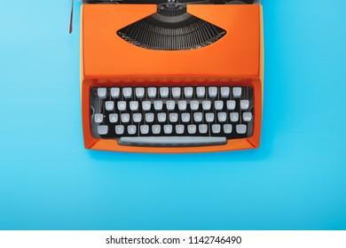 Old typewriter machine, top view.