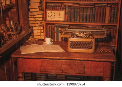 Old Typewriter On Table Next Book Stock Photo Edit Now 1190875945