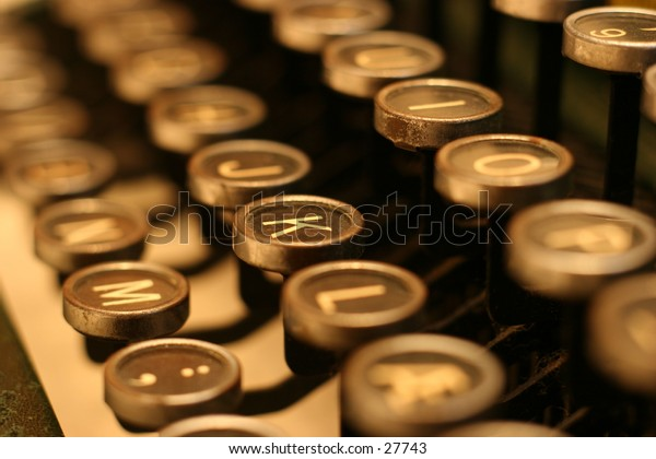 Old typewriter with rounded keys