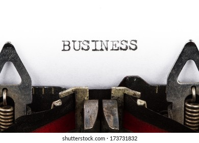 Old typewriter with text business