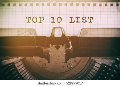 Old typewriter with text TOP 10 LIST. Business concept, retro filtered.