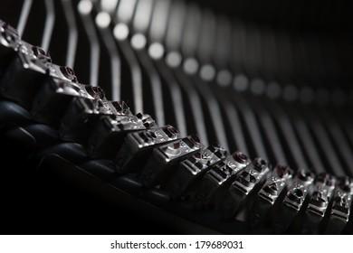 old typewriter type bars, mechanical background