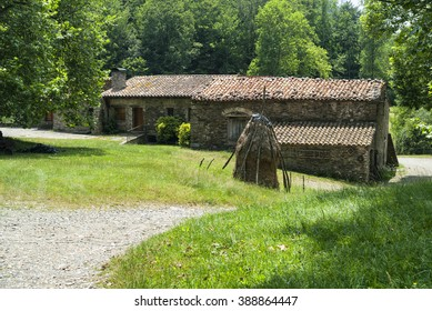 Old typical farm along the Collado de Ares (Pirineos, Catalunya, Spain) at summer