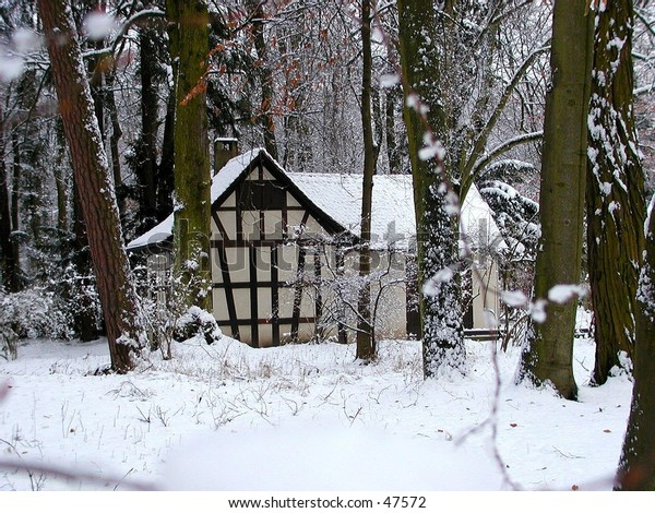 an old typical house in the palace park in germany