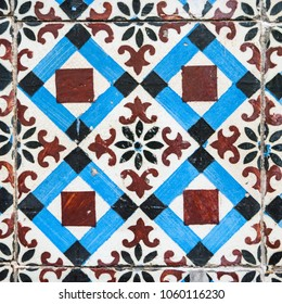 Old typical portuguese tiles called azulejos taken from the external walls of an old house in Lisbon