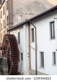Old typical watermill and white house near San Donato Milanese, Milan, Italy