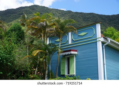 Old typical wood colorful house in the tropical mountains of La Reunion, France