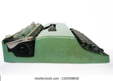 Old typing, writing machine in vintage retro styled isolated on white background, close up