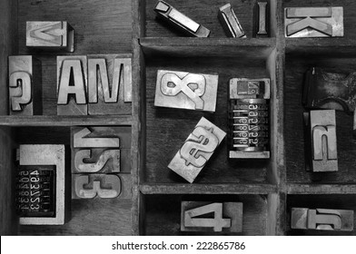 Old typography. Old Metallic Letters and cases.