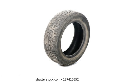 Old tyre isolated on white background