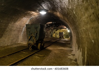 Old underground mine with equipment and rails, Banska Stiavnica, Slovakia