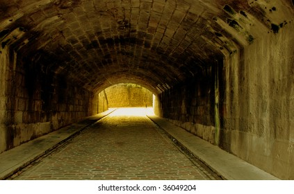 An old underpass in Aberdeen, Scotland tinted in glowing light