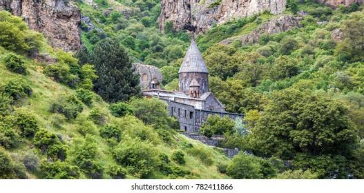 Old UNESCO object Geghard monastyr - Armenia summer day. Exploring Armenia