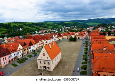 Old UNESCO town Bardejov panorama, town hall and square view.