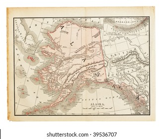 Old United States (Alaska) map from XIX century