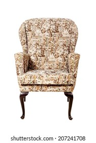 Old upholstered chair on a white background.